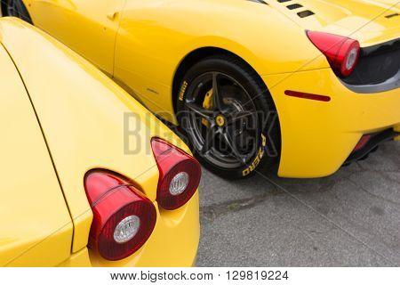 Yellow Ferrari On Detail