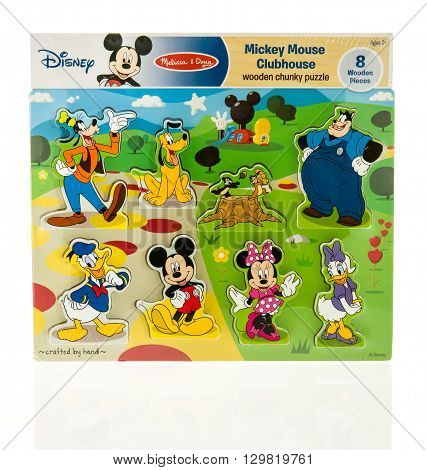 Winneconne WI - 15 May 2016: Package of a Disney Mickey Mouse clubhouse puzzle on an isolated background