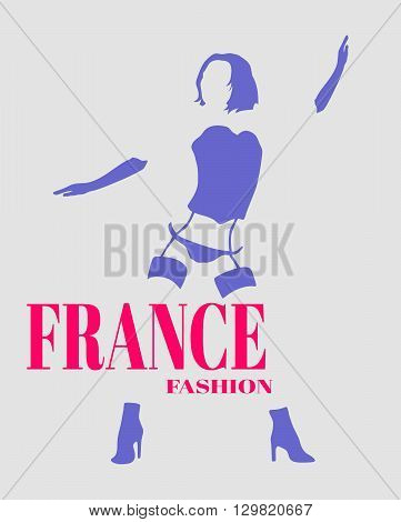 Sexy woman silhouette underwear fashion. Woman underwear. France fashion text.