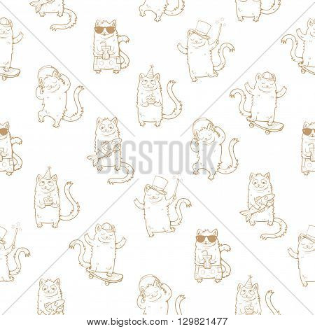 Seamless pattern with cute cartoon cats on a white background. Funny kitten in different poses. Children's illustration. Vector image.