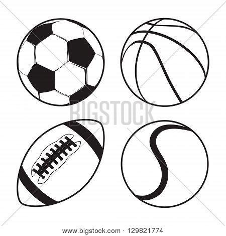 Set of Sports balls Soccer Basketball American Football tennis vector