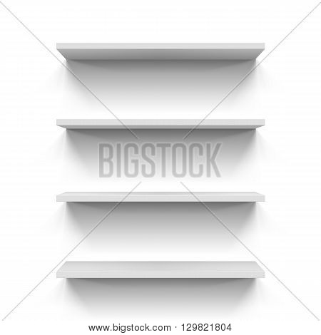 Set of four bookshelves on the white wall