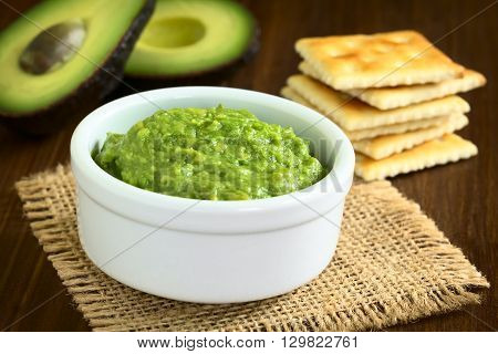 Fresh avocado cream or guacamole with soda crackers and half avocados in the back photographed with natural light (Selective Focus Focus in the middle of the avocado cream)