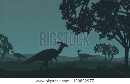 Silhouette of parasaurolophus walking in fields at night