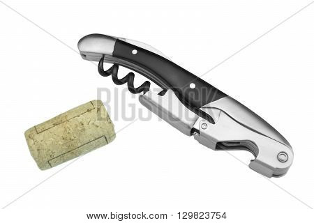 Waiter Or  Sommelier Knife And Wine Bottle Cork White Isolated