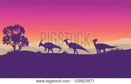 Silhouette of parasaurolophus lined at the afternoon