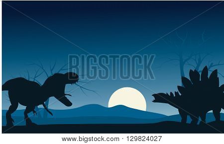 Silhouette of stegosaurus and T-Rex with moon
