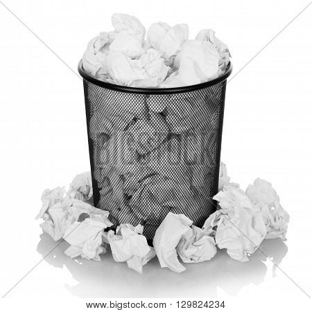 Metal trash bin from paper isolated on white background.