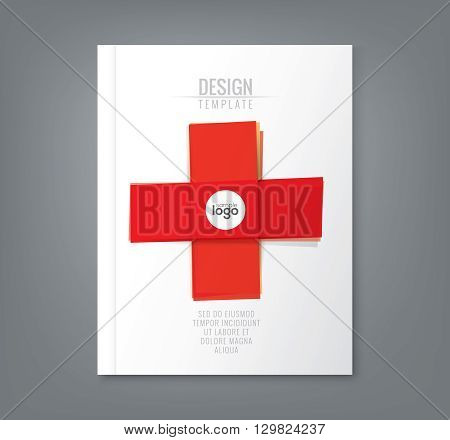 Abstract minimal red tape in cross shapes design background for business annual report book cover brochure flyer poster