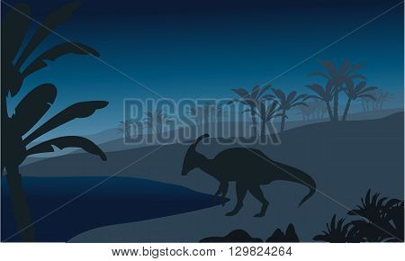 Silhouette of single parasaurolophus at the night