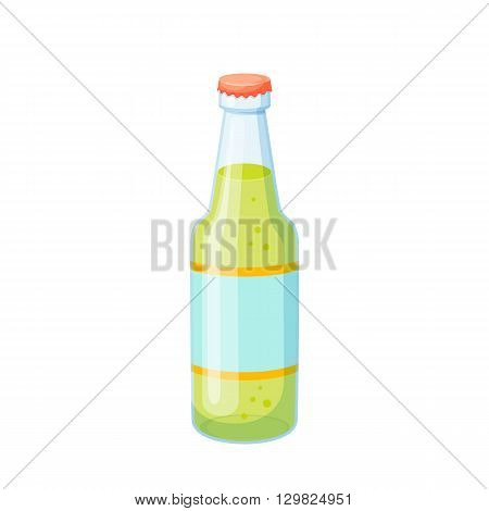 Soda bottle. Drinks and soda glass bottle vector illustration. Beverage packaging. Bottle of soda, cola, water, beer, soft drinks. Design of bottle for drinks. Cartoon bottle blank