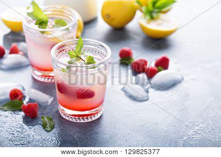 Raspberry lemon lemonade drink for hot summer days