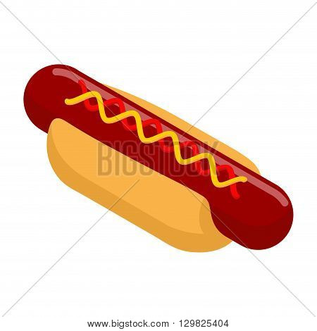 Hot Dog Isometrics. Bun With Sausage. Mustard And Ketchup. 3D Illustration Of Food. Fast Food Isolat