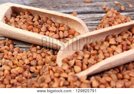 Heap of uncooked brown buckwheat groats with spoon on wooden table concept for healthy eating and nutrition