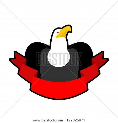 Eagle And Tape. Red Ribbon And Head Of Bald Eagle. Hawk. Logo For Sports Team