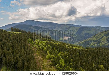 The highest hill Lysa Hora in czech mountains Beskydy