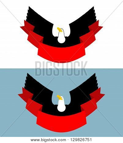 Eagle And Red Ribbon. Bird Of Prey For Symbol, Emblem Of Sports Team. Element For Posters