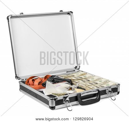 Suitcase with dollars, drugs and arms isolated on a white background.