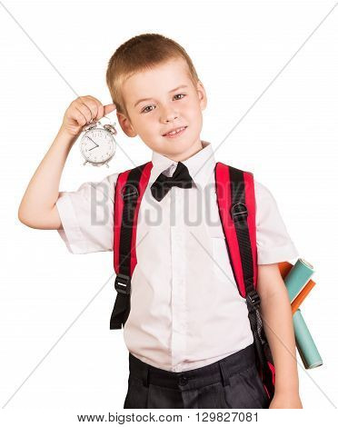 The boy should go to school isolated on white background.