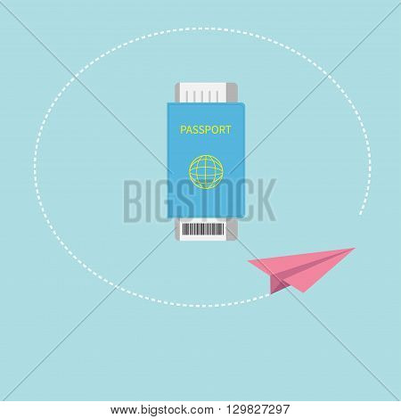 Passport and air boarding pass ticket icon with barcode. Paper plane. Dash line circle track. Blue background. Travel and Vacation consept. Flat design. Vector illustration