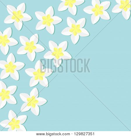 Tropical flower icon set. in the corner Plumeria Frangipani Hawaii Bali plant Flower frame. Blue background. Flat design Vector illustration