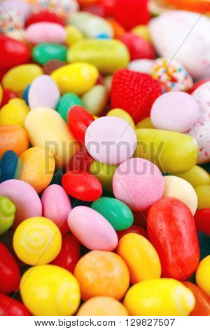 Colorful candy and gum closeup. Sweets background