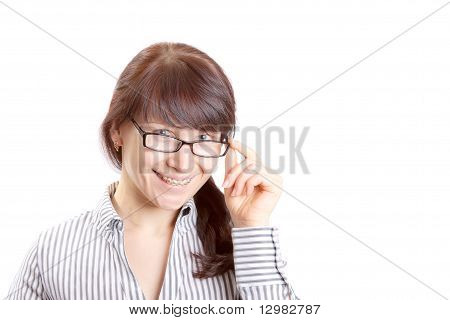 Smiling girl with braked