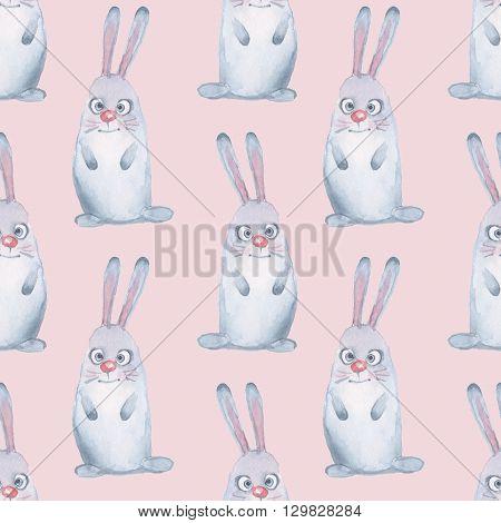 Animal set. Hand-drawn hare. Seamless pattern 2