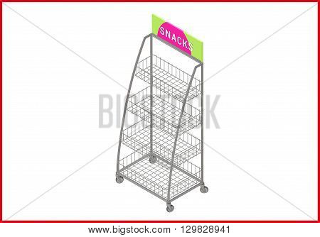 Showcase isometric perspective view flat vector 3d illustration. Empty shelf icon.