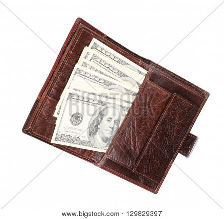 image of one Leather Purse with dollars Isolated