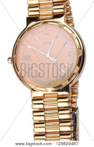 image of one gold plated watch isolated