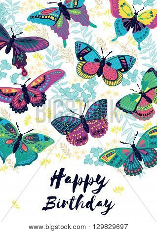 Happy birthday greeting card with flying colorful butterflies and flowers. Awesome background with butterflies and flowers in vector