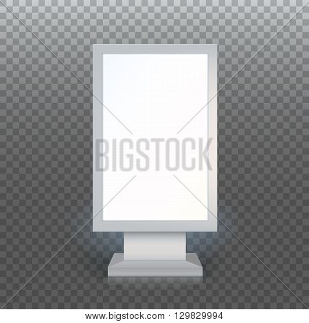 Digital Signage. Blank advertising billboard on transparent background, Vertical blank lightbox, vector illustration.