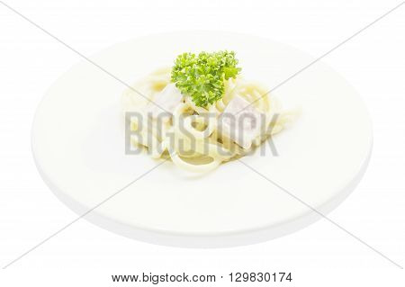 Spaghetti Carbonara With Ham Italian Food On White Plate