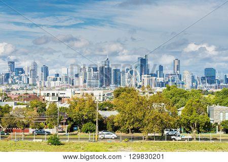 Melbourne, Australia - Apr 11, 2016: View of modern buildings in Melbourne CBD in daytime