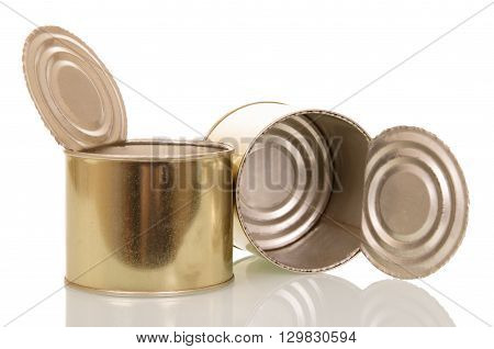 Open empty tin cans isolated on white background.