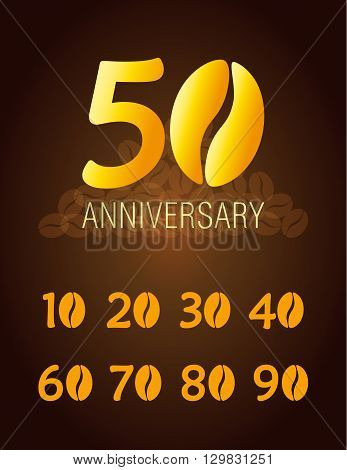 Set of coffee anniversary icons. Vector birthday card of cafe or coffee company with festive numbers and golden beans.