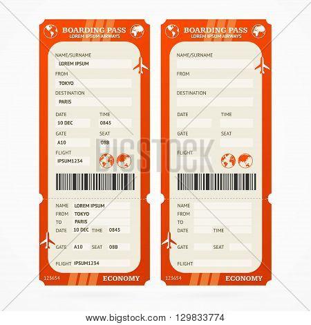 Red Boarding Pass Ticket Set. Vector illustration