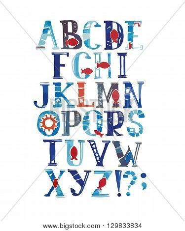 Watercolor alphabet in marine style. Vector with colorful letters. Hand drawn font and alphabet.