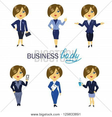 Business woman avatars and icons. Cartoon vector illustration set. Six young women in business outfit with phone, coffee, suitcase and documents.