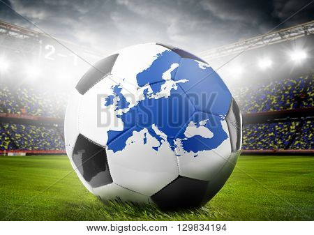 stadium and soccer or football ball with map of Europe. Continent shape is altered one from visibleearth.nasa.gov