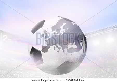 double exposure photo of stadium and soccer or football ball with map of Europe. Continent shape is altered one from visibleearth.nasa.gov