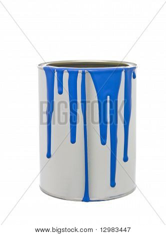 Paint Can With Blue Spill