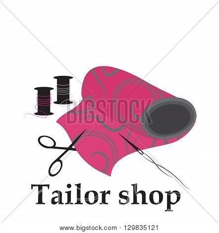 fabric for sewing vector illustration sewing shop