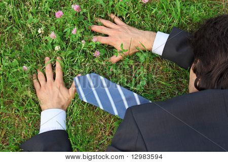 businessman lies prone on grass, top view
