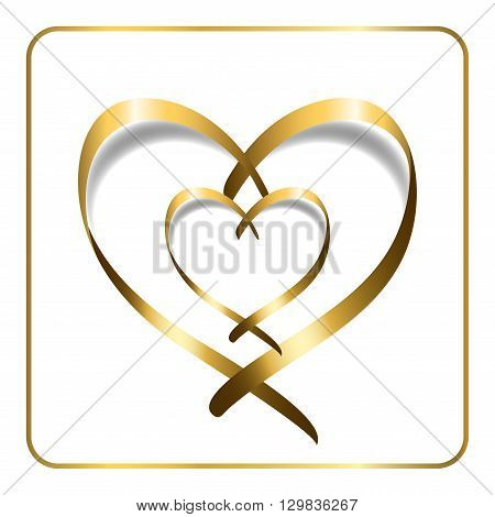 Gold ribbon double heart. Golden silhouette isolated on white background. Symbol happy love romantic wedding. Valentine Day design template for banner invitation card poster. Vector Illustration