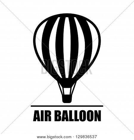 Vector black hot air ballon icon on white background