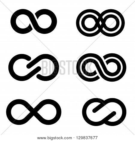 Vector black infinity icons set on white background. Limitless Infinity icon.