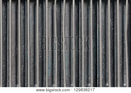Old car radiator background. Aluminum detail car closeup