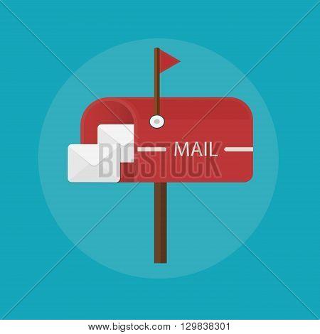 Mail box post icon. Flat design illustration concept.